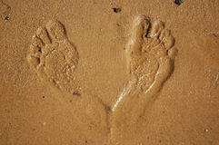 Foot prints. On sand at lake shore Royalty Free Stock Photo