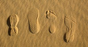 Foot prints 2. Foot prints in the sand at sunset Royalty Free Stock Photography