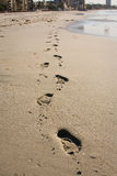 Foot prints. In the sand a long the beach at Long beach Royalty Free Stock Photos