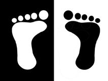 Foot prints. Black and white foot prints for design Royalty Free Stock Image