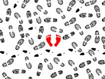 Foot prints. Seamless illustration of foot prints with two red bootless imprints Royalty Free Stock Photography