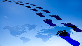 Foot prints around the earth Royalty Free Stock Photo