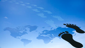 Foot prints around the earth Stock Images