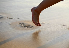 Foot Prints on Beach Stock Photography