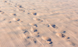 Foot prints on beach sand photograph Royalty Free Stock Images