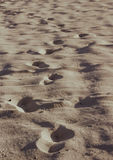 Foot prints on beach sand photograph Stock Photo