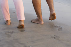 Foot prints of couple Royalty Free Stock Photography