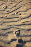 Foot prints of human on a sand dune. Travel Stock Photo
