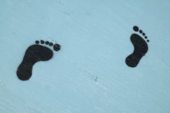 Foot prints leading to somewhere unknown, McCall Idaho Stock Photo
