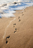 Foot Prints in the Sand. About to be washed away by a wave Royalty Free Stock Images