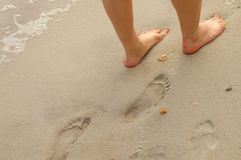 Foot prints in the sand Royalty Free Stock Image