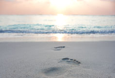 Foot prints at sand Royalty Free Stock Images