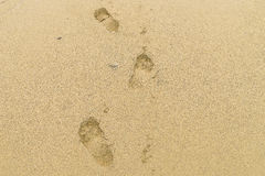 Foot Prints in the Sand Royalty Free Stock Images