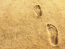 Foot prints on sea beach sand Royalty Free Stock Photo
