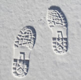 Foot prints in the snow stock images