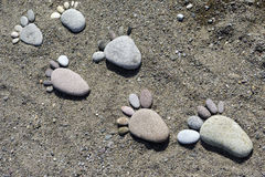 Foot prints of stones on beach Lesvos Stock Photography