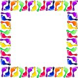 Foot prints vector set colorful frame Stock Photo
