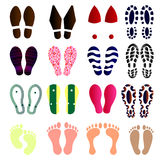 Foot prints vector set colorful Royalty Free Stock Photography