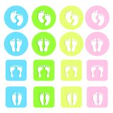 Foot prints vector set colorful Royalty Free Stock Image