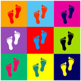 Foot prints vector set colorful Stock Image