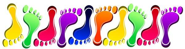 Foot prints vector set colorful web heading stock illustration