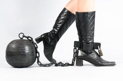 Foot with prison ball Stock Photos