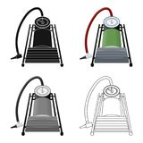 Foot pump for car single icon in cartoon,outline,black style for design.Car maintenance station vector symbol stock. Illustration Royalty Free Stock Photo