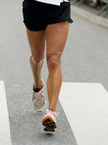 Foot race. One athlete at foot race Royalty Free Stock Images