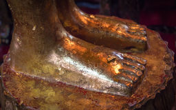 Foot of reclining buddha stock images