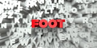 FOOT -  Red text on typography background - 3D rendered royalty free stock image Stock Photos