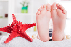 Foot relaxation treatment Royalty Free Stock Image