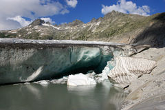 At the foot of the Rhone glacier Royalty Free Stock Photo