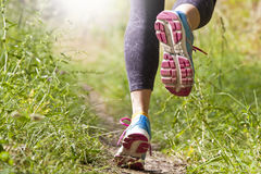 Foot runner in the foreground Royalty Free Stock Photography