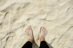 Foot on sand at the beach Stock Image