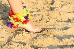 Foot on sand with flowers Stock Image