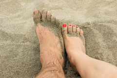 Foot in the sand Royalty Free Stock Photography