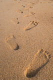 Foot on sand texture background. Royalty Free Stock Photo