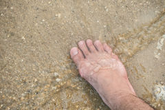 Foot sand and water Royalty Free Stock Photo
