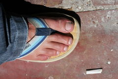 Foot in Sandal Stock Image