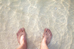 Foot on the sandy beach Royalty Free Stock Image