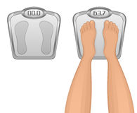 Foot on the scales. On a white background Stock Photography