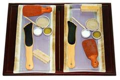Foot Scrub Spa Materials. Foot spa materials, tools and equioments Royalty Free Stock Images