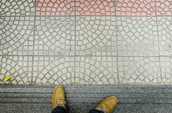 Foot seen from above. Selfie Stock Photos