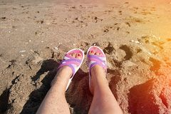 Foot in shales on sand beach Royalty Free Stock Image