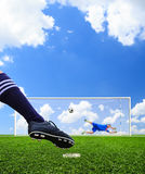 Foot shooting soccer ball to goal Royalty Free Stock Photos