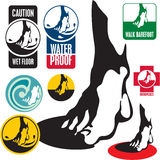 Foot sign label. Foot labels, element for design. Wet floor sign Royalty Free Stock Photo