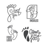Foot silhouette. Health Center logo, orthopedic salon. Sign bare foot. Silhouette footprint. Business abstract set logos. Vector illustration Royalty Free Stock Images