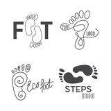 Foot silhouette. Health Center logo, orthopedic salon. Sign bare foot. Silhouette footprint. Business abstract set logos. Vector illustration Stock Photos