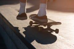 Foot on a skateboard. Stock Photo