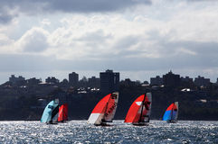 18 foot skiffs on Sydney Harbour Stock Photos